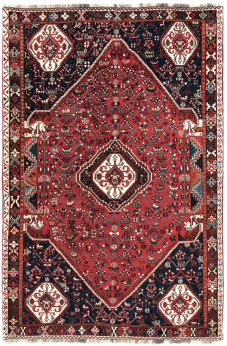 Persian Qashqai 5'x8' Red Black Wool Area Rug