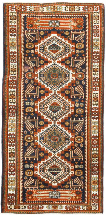 Fine Kazak Runner 3x7 Orange Blue Wool Area Rug