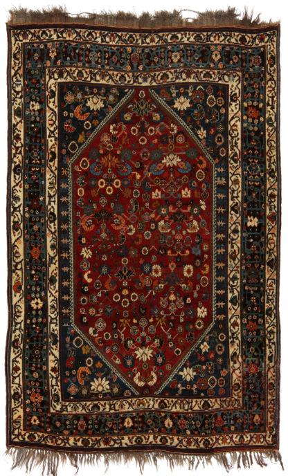 Antique Persian Khamseh 5x8 Red Blue Area Rug