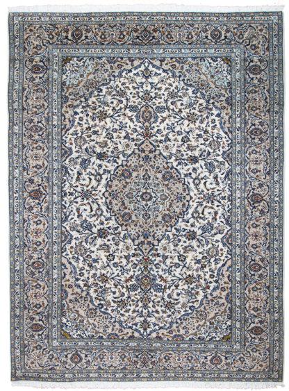 Persian Kashan 10x13 Blue Ivory Wool Area Rug