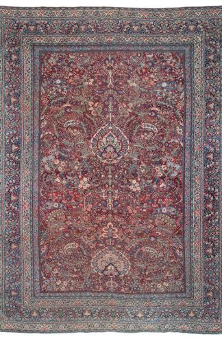 Persian Mashad Antique 10x14 Red Blue Area Rug