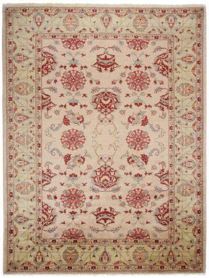 Afghan Zeigler Design 9x12 Rose Lime Wool Area Rug