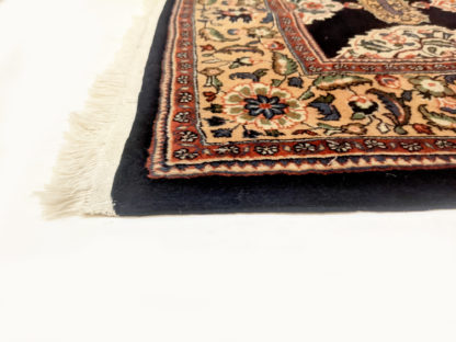 Persian Kashan 5x7 Blue Red Wool Area Rug