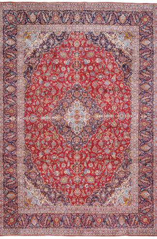 Persian Kashan 10x13 Red Wool Area Rug