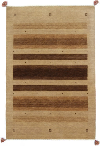 Hand Knotted Gabbeh Design 5x7 Brown Wool Area Rug