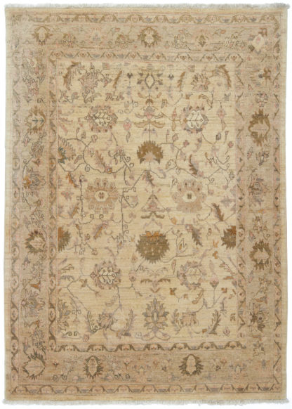 Hand Knotted Chobi 5x7 Beige Rose Wool Area Rug