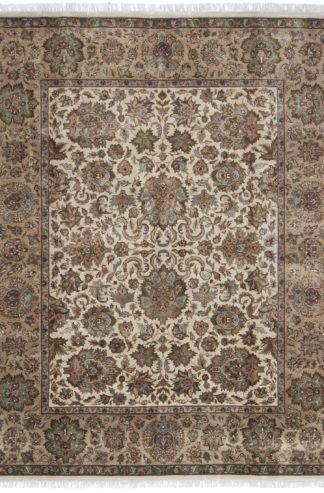 Hand Knotted Jaipur 8x10 Brown Ivory Wool Area Rug