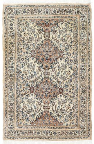 Extra-Fine Persian Nain 4x7 Ivory Blue Area Rug