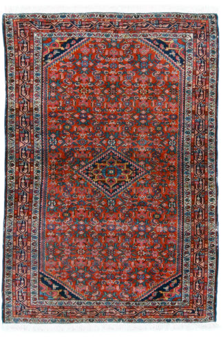 Antique Persian 4x6 Red Blue Wool Area Rug