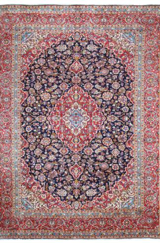 Persian Kashan 10x13 Red Blue Wool Area Rug