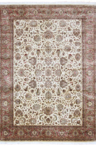 Hand Knotted Jaipur 8x12 Rose Beige Wool Area Rug