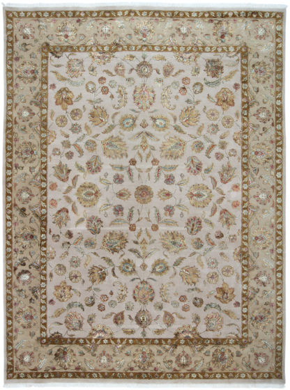 Hand Knotted Wool Silk 9x12 Gold Ivory Area Rug