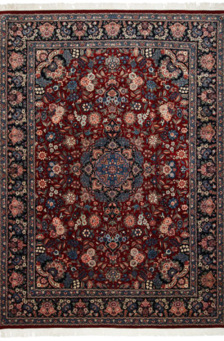 Fine Hand Knotted Wool Silk 9x13 Red Blue Area Rug