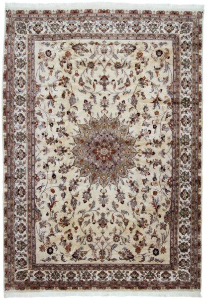 Fine Tabriz Design 8x12 Ivory Wool Area Rug