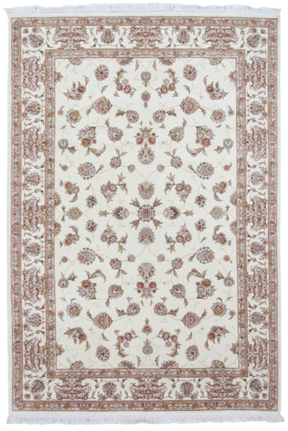 Hand Knotted 6x9 Ivory Wool Silk Area Rug