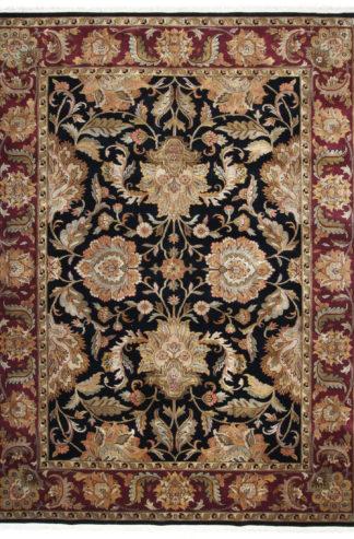 Hand Knotted Jaipur 9x12 Black Maroon Wool Rug