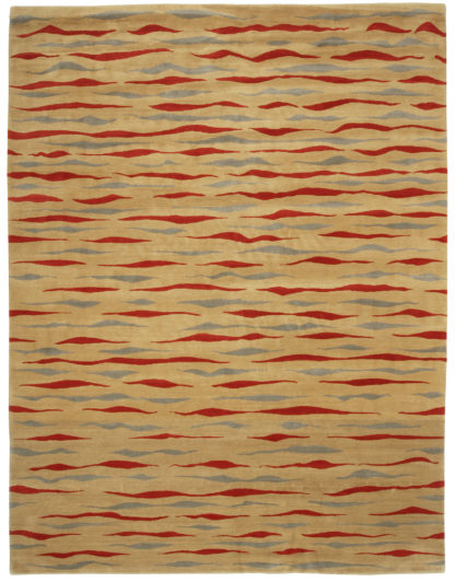 Hand Knotted Nepalis 9x12 Beige Red Wool Rug
