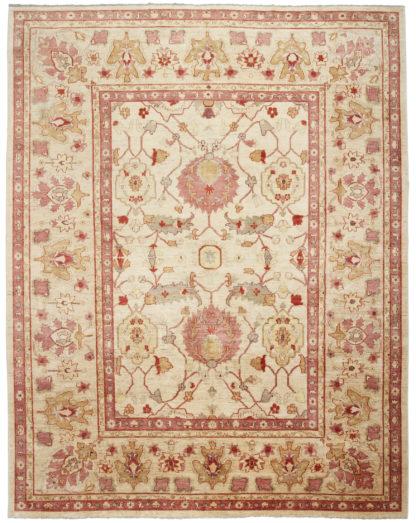 Afghan Sultan Abad Design 9x12 Beige Rose Area Rug