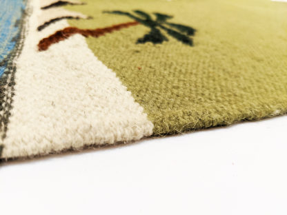 Pictorial Dhurrie 2x3 Blue Green Wool Area Rug
