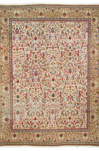 Taba Tabriz 8x11 Ivory Orange Wool Area Rug