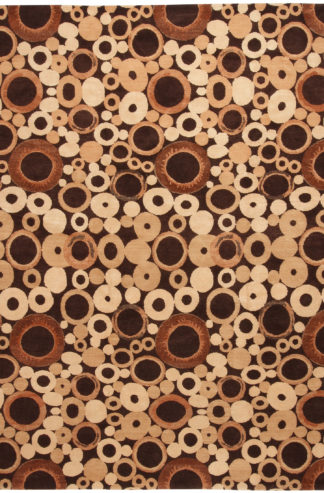 Circles Contemporary 8x10 Brown Wool Area Rug