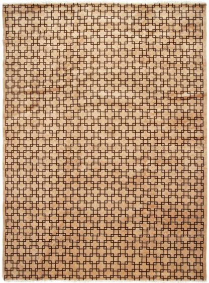 Lattice Contemporary 9x12 Brown Beige Wool Rug