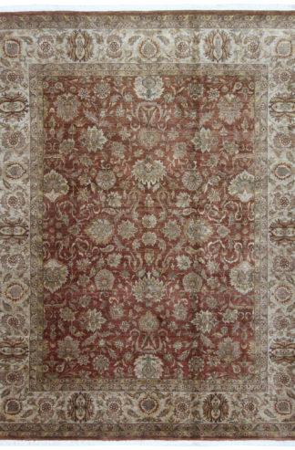 Indo-Tabriz Design 8x10 Brown Wool Area Rug