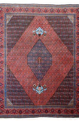 Persian Bijdar 9x12 Rose Blue Area Rug