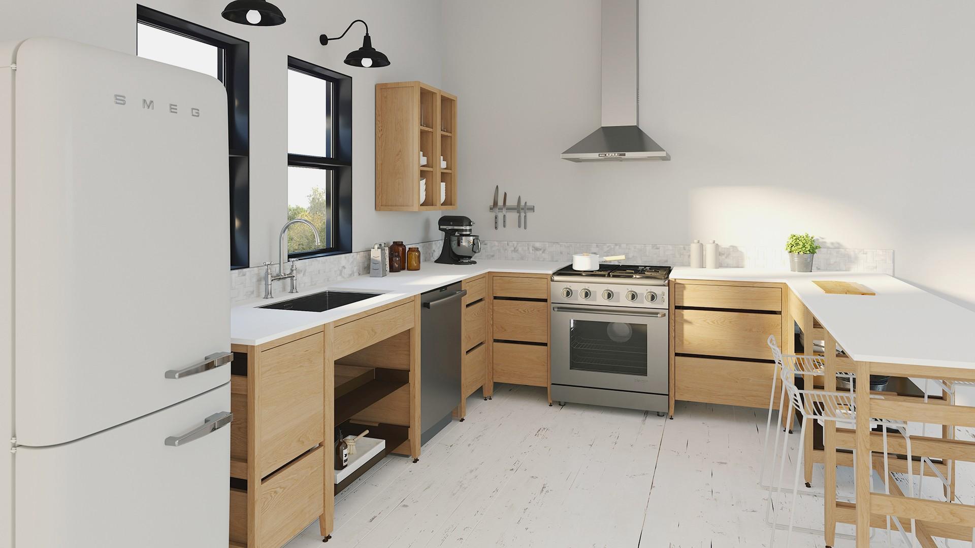 Radix Base Kitchen Cabinet 11 Drawers 110 In White Oak/Black  coquo