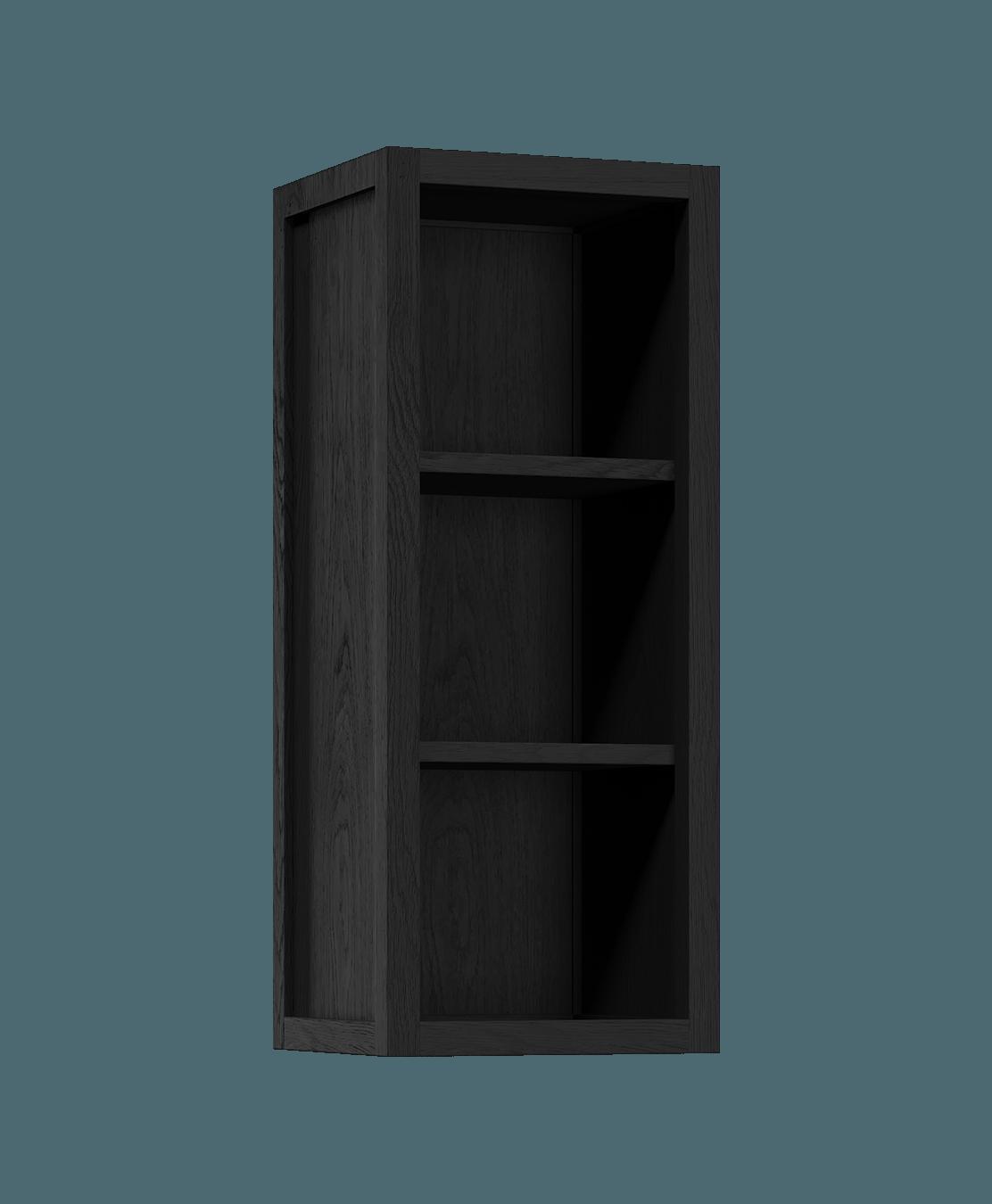 armoire de cuisine modulaire murale ouverte en bois massif coquo radix avec 2 portes en verre chêne teint noir nuit profonde 12 pouces C1-W-1212-0000-BK