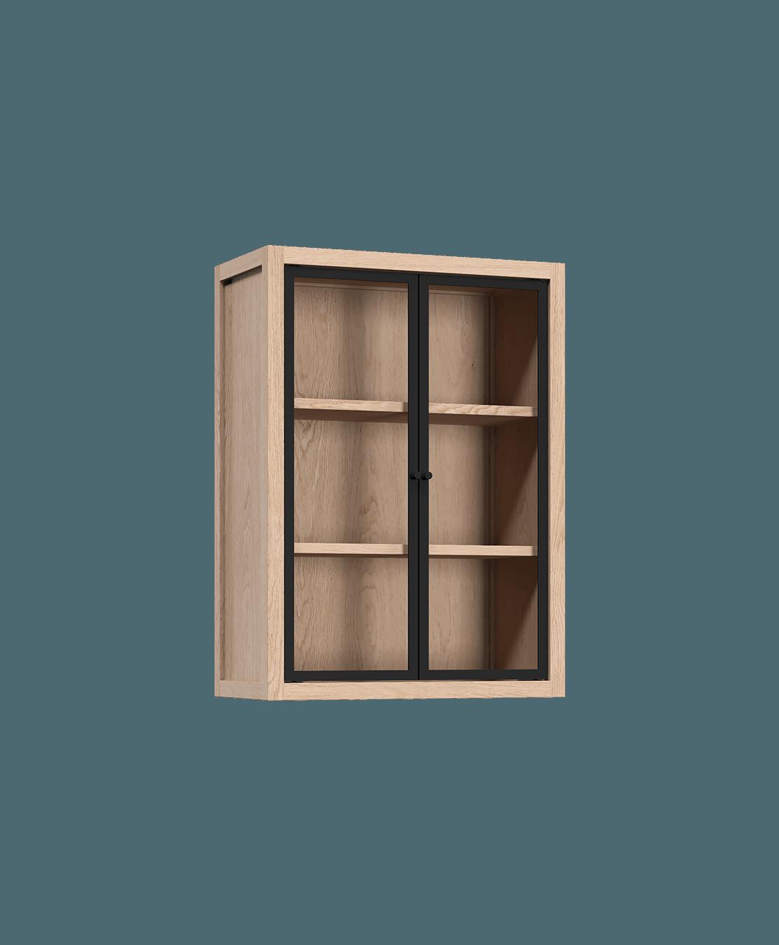 armoire de cuisine modulaire murale vitrée en bois massif coquo radix avec 2 portes en verre chêne blanc 12 pouces C1-W-2412-0202-NA