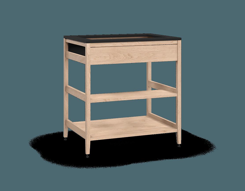 armoire de cuisine modulaire pour évier en bois massif coquo radix avec façade fixe 1 demi tablette de bois chêne blanc 33 pouces C1-CSK-33SBW-003W2-NA