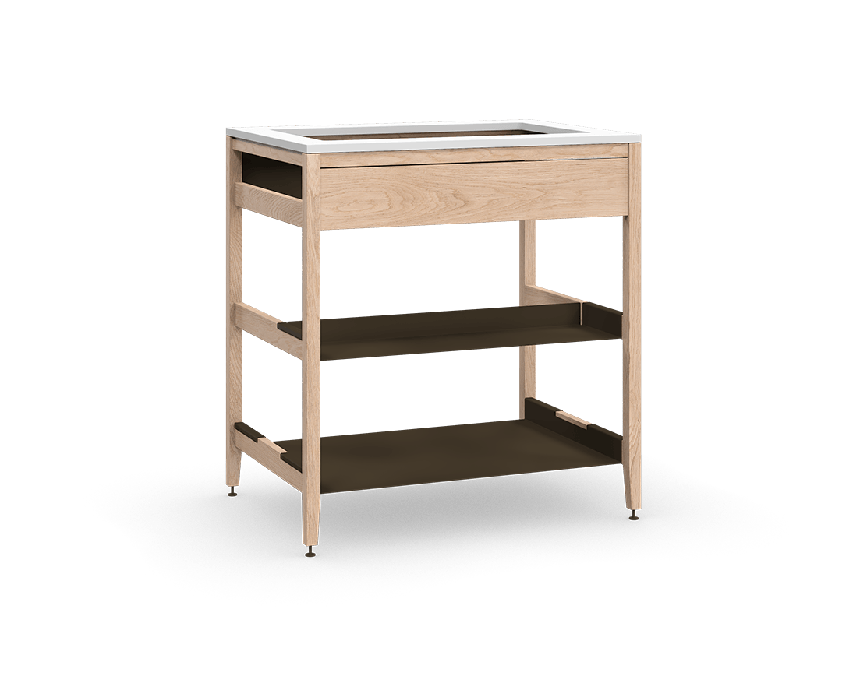 armoire de cuisine modulaire pour évier en bois massif coquo radix avec façade fixe 1 demi tablette chêne blanc 33 pouces C1-CSK-33SB-0031-NA