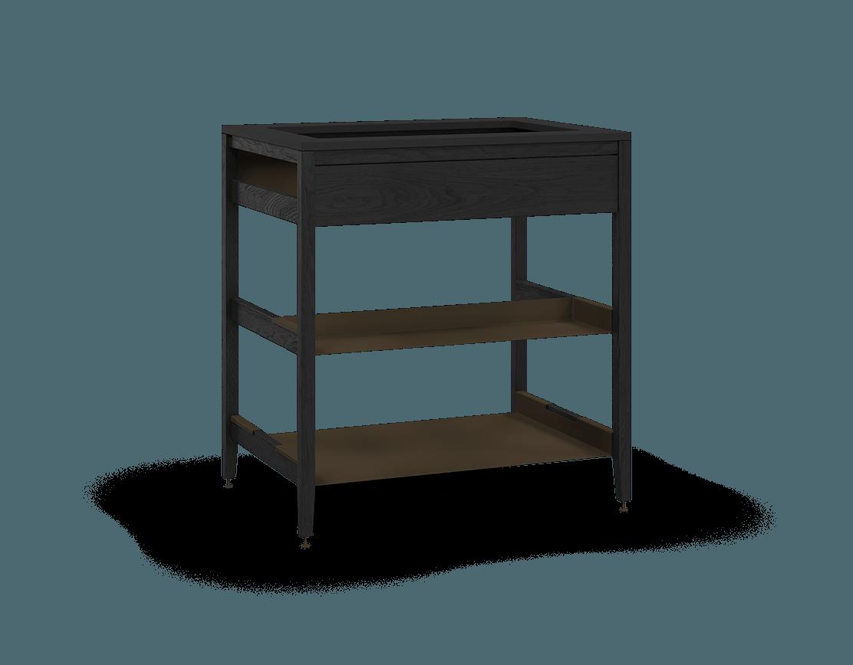 armoire de cuisine modulaire pour évier en bois massif coquo radix avec façade fixe 1 demi tablette chêne teint noir nuit profonde 33 pouces C1-CSK-33SB-0031-BK