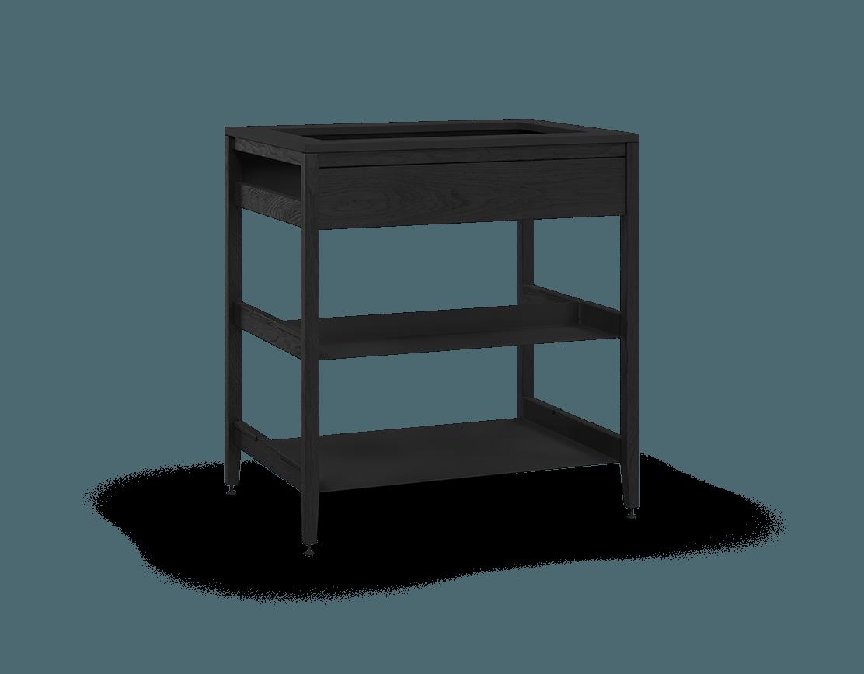 armoire de cuisine modulaire pour évier en bois massif coquo radix avec façade fixe 1 demi tablette chêne teint noir nuit profonde 33 pouces C1-CSK-33SB-0032-BK