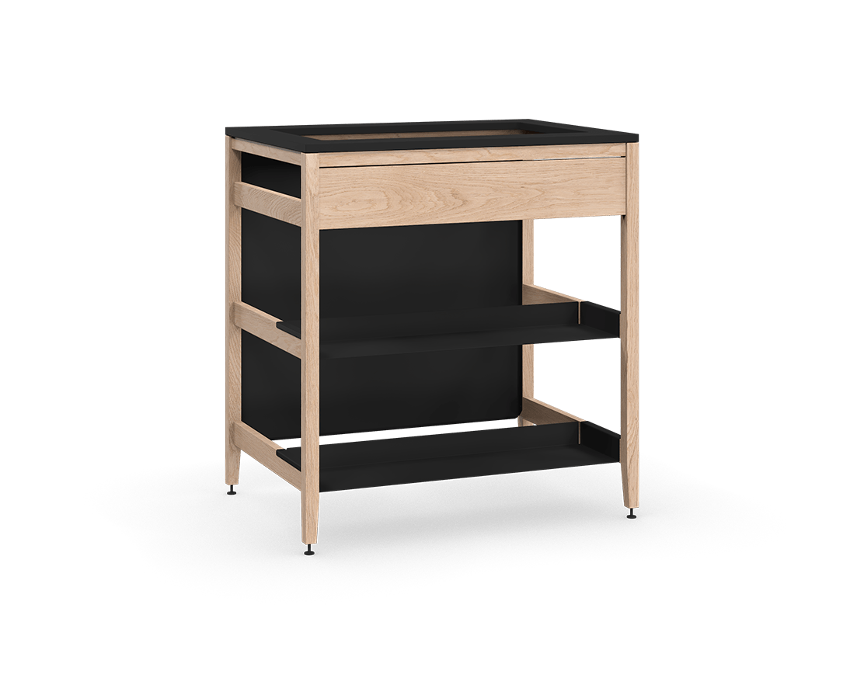 armoire de cuisine modulaire pour évier en bois massif coquo radix avec façade fixe 2 demi tablettes chêne blanc 33 pouces C1-CSK-33TB-0042-NA