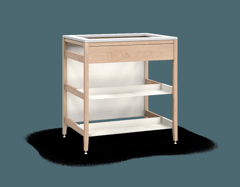 armoire de cuisine modulaire pour évier en bois massif coquo radix avec façade fixe 2 demi tablettes chêne blanc 33 pouces C1-CSK-33TB-0043-NA