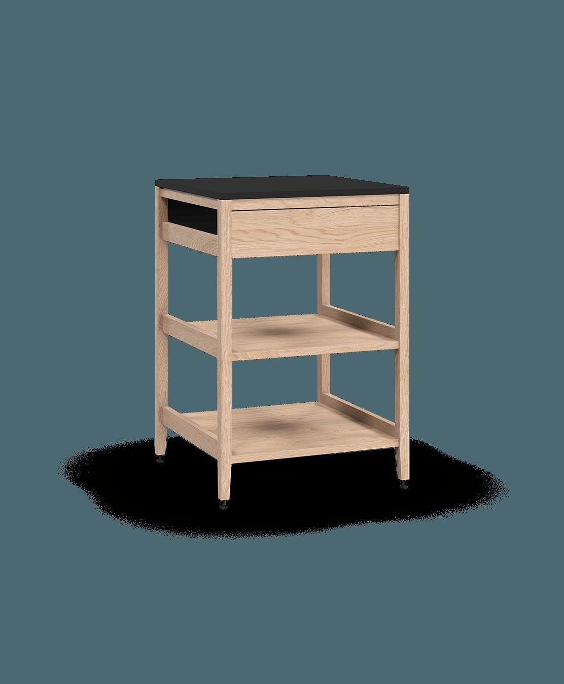 armoire de cuisine de coin modulaire inférieure en bois massif coquo radix avec 2 tablettes de bois façade fixe chêne blanc 24 pouces C1-CC-24SBW-002W2-NA
