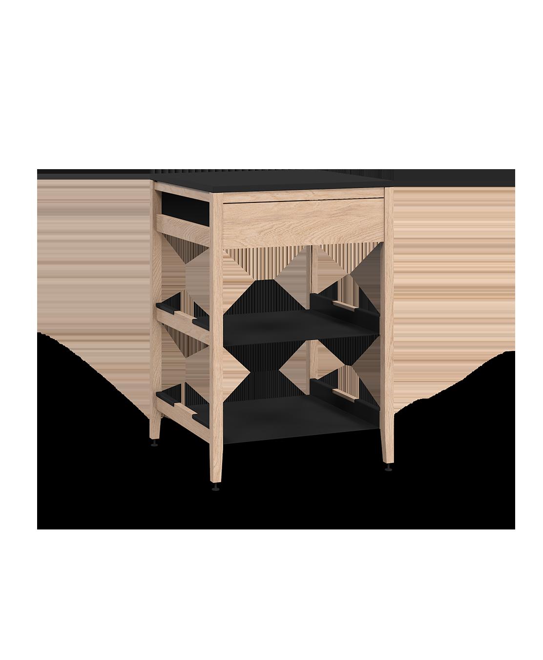 armoire de cuisine de coin modulaire inférieure en bois massif coquo radix avec 2 tablettes façade fixe chêne blanc 24 pouces C1-CC-24SB-0022-NA