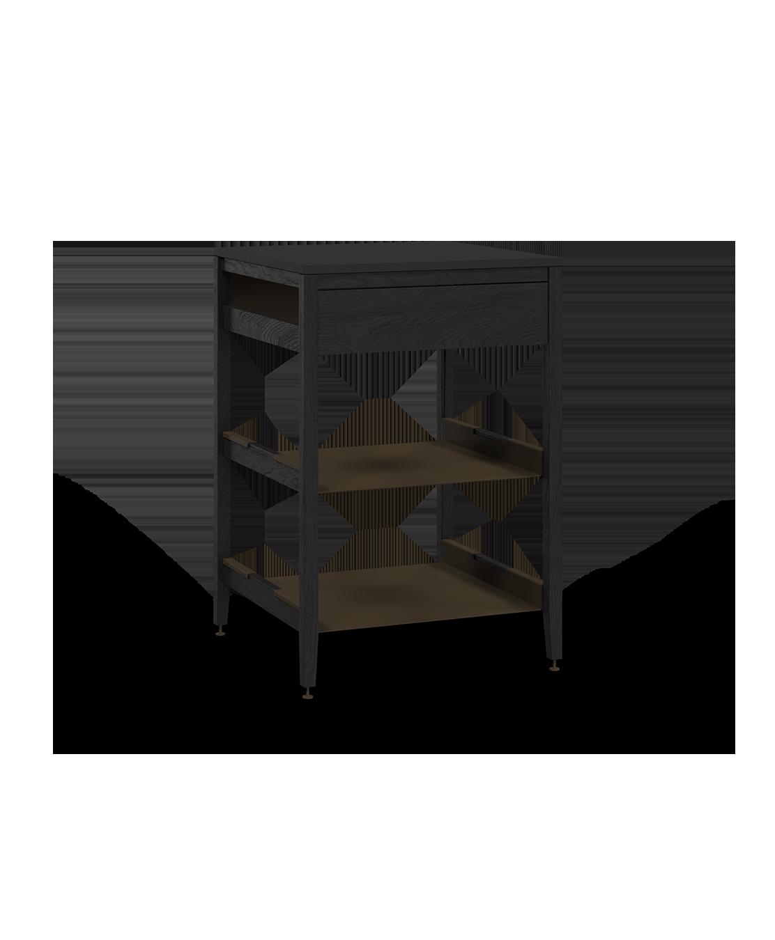 armoire de cuisine de coin modulaire inférieure en bois massif coquo radix avec 2 tablettes façade fixe chêne teint noir nuit profonde 24 pouces C1-CC-24SB-0021-BK