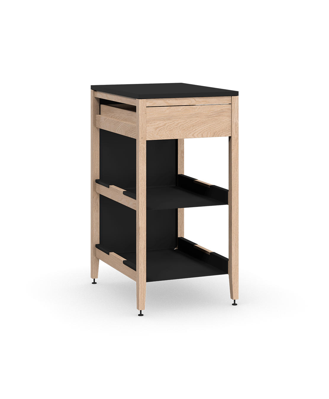 armoire de cuisine modulaire inférieure en bois massif coquo radix avec 2 tablettes 1 tiroir chêne blanc 18 pouces C1-C-18TB-1022-NA