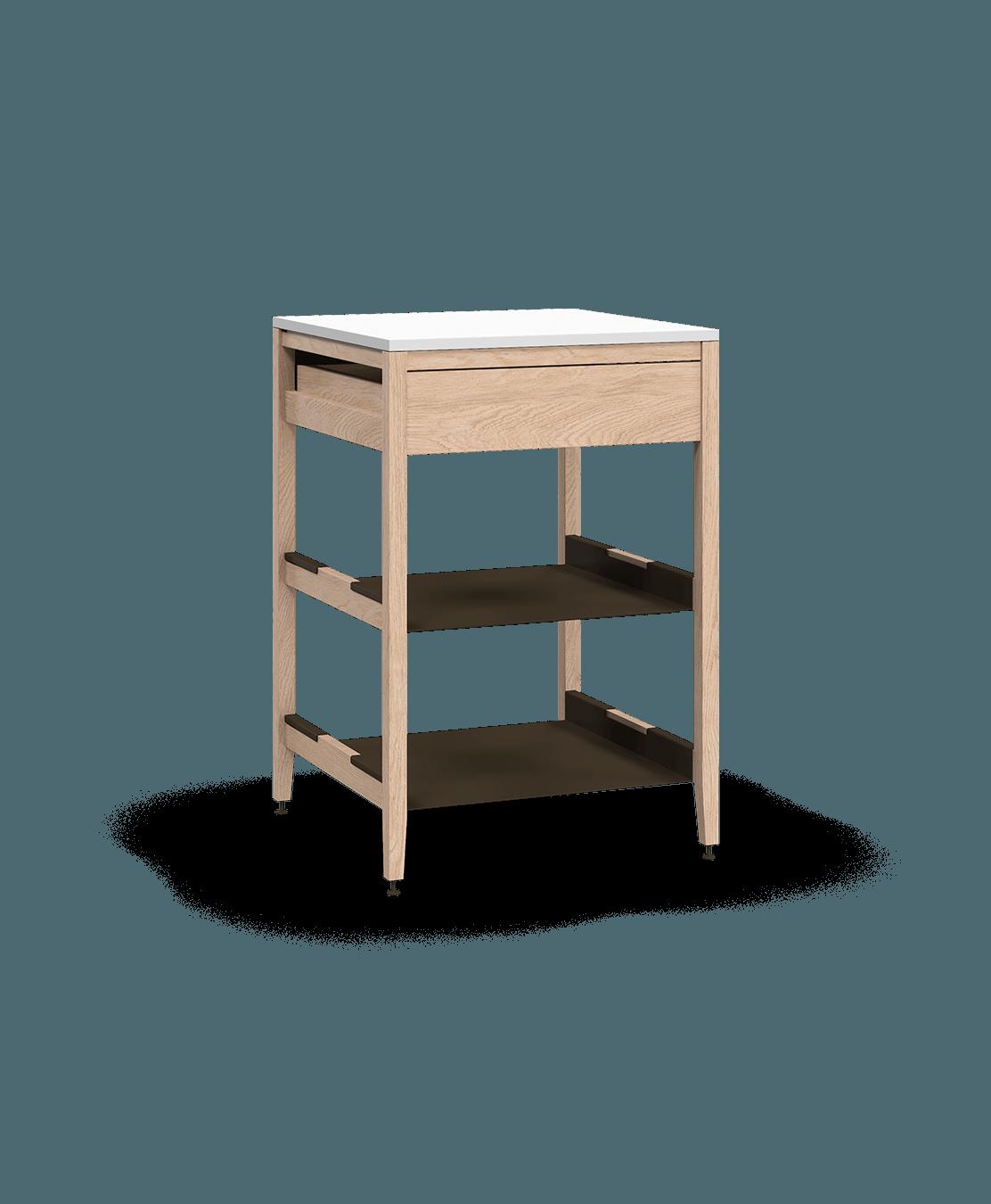 armoire de cuisine modulaire inférieure en bois massif coquo radix avec 2 tablettes 1 tiroir chêne blanc 24 pouces C1-C-24SB-1021-NA