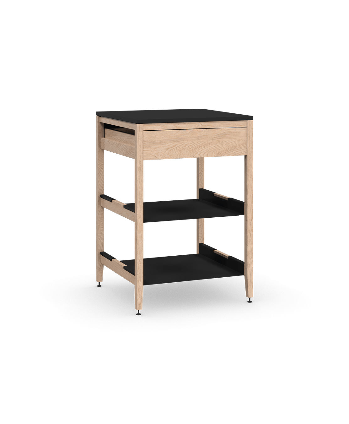 armoire de cuisine modulaire inférieure en bois massif coquo radix avec 2 tablettes 1 tiroir chêne blanc 24 pouces C1-C-24SB-1022-NA