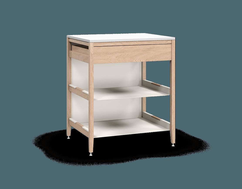 armoire de cuisine modulaire inférieure en bois massif coquo radix avec 2 tablettes 1 tiroir chêne blanc 30 pouces C1-C-30TB-1023-NA