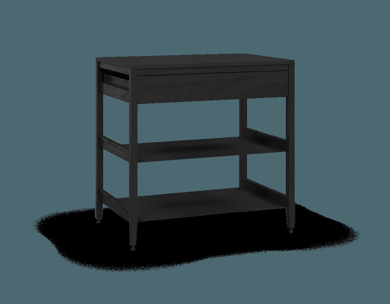 armoire de cuisine modulaire inférieure en bois massif coquo radix avec 2 tablettes 1 tiroir chêne teint noir nuit profonde 36 pouces C1-C-36SB-1022-BK