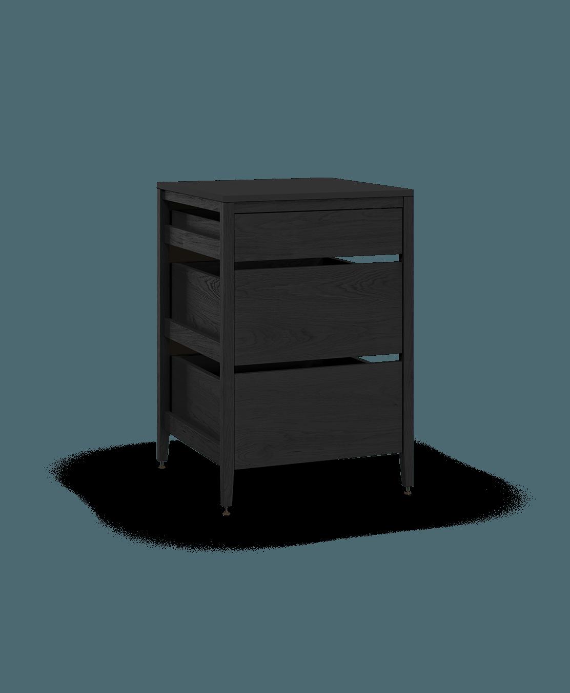 armoire de cuisine modulaire inférieure en bois massif coquo radix avec 3 tiroirs chêne teint noir nuit profonde 27 pouces C1-C-27TB-3001-BK