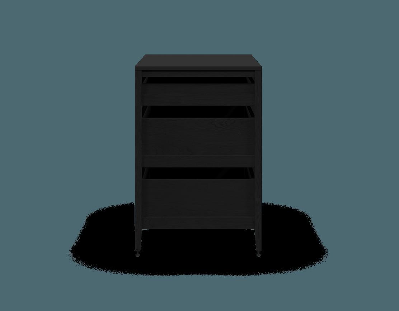 armoire de cuisine modulaire inférieure en bois massif coquo radix avec 3 tiroirs chêne teint noir nuit profonde 36 pouces C1-C-36TB-3002-BK