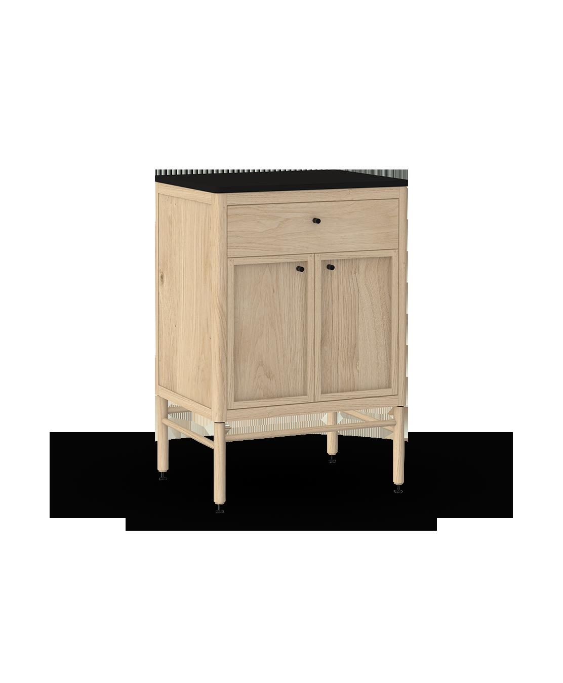 armoire inférieure modulaire de rangement en bois massif coquo statio avec 1 tiroir 2 portes chêne blanc 24 pouces C4-C-2418-1202-NA