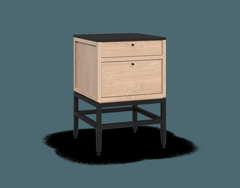 armoire inférieure modulaire de rangement en bois massif coquo volitare avec 2 tiroirs chêne blanc teint noir nuit profonde 24 pouces C2-C-2424-2002-NA-BK