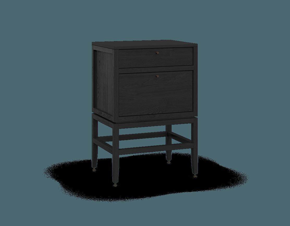 armoire inférieure modulaire de rangement en bois massif coquo volitare avec 2 tiroirs chêne teint noir nuit profonde 24 pouces C2-C-2418-2001-BK